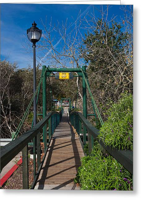 San Luis Obispo Greeting Cards - Swing Bridge In A Forest, Arroyo Greeting Card by Panoramic Images