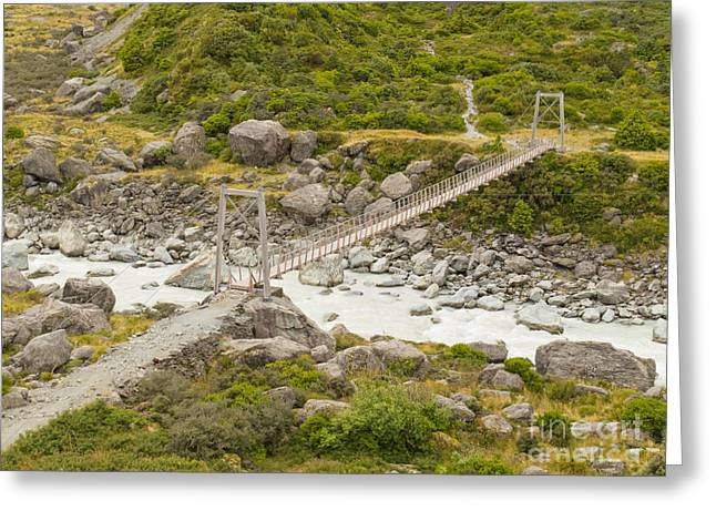 Swing Span Greeting Cards - Swing bridge over mountain river in New Zealand Greeting Card by Stephan Pietzko
