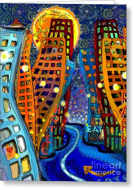 City Lights Greeting Cards - Swing City Greeting Card by Carol Jacobs