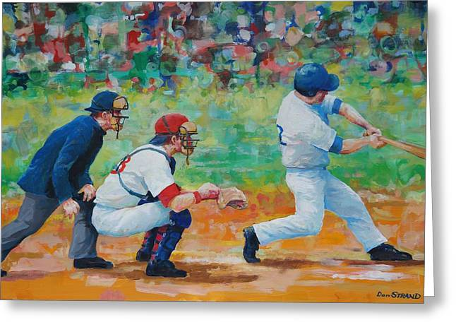 Hitter Paintings Greeting Cards - Swing Greeting Card by Dan Strand