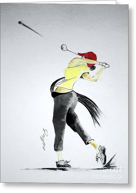 Us Open Greeting Cards - Swing for Hole One Greeting Card by Jalal Gilani