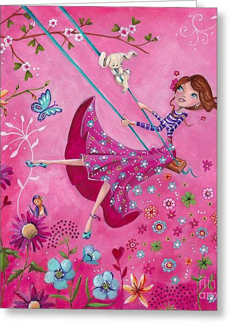 Fairy Hearts Pink Flower Greeting Cards - Swing Girl Greeting Card by Caroline Bonne-Muller