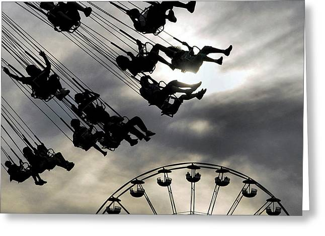 Fun Fair Greeting Cards - Swing Greeting Card by Gothicolors Donna Snyder