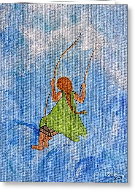 Swing High Into The Clouds - Painting Greeting Card by Ella Kaye Dickey