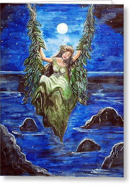 Swing In Moonlight Greeting Card by Saranya Haridasan