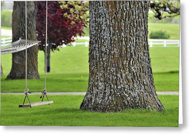 Lawn Chair Greeting Cards - Swing in Spring Greeting Card by Jodi Jacobson