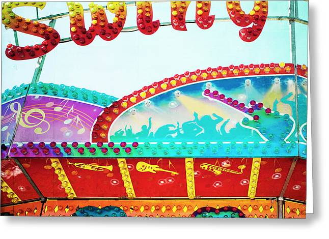 Carnival Art Greeting Cards - Swing Greeting Card by Kim Fearheiley