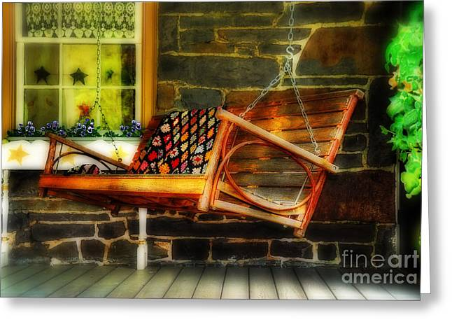 Front Porches Greeting Cards - Swing Me Greeting Card by Lois Bryan