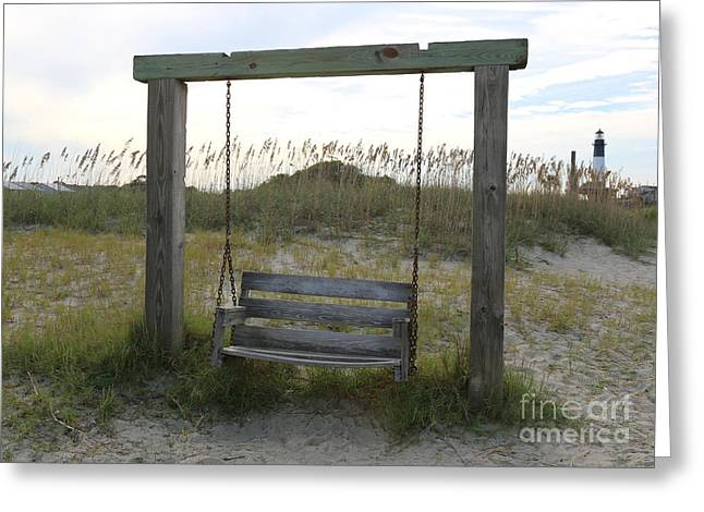 Day At The Beach Greeting Cards - Swing on the Beach Greeting Card by Carol Groenen