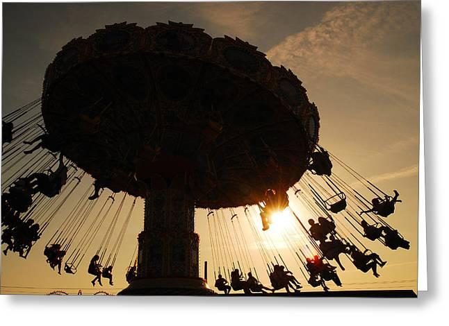 Jenkinsons Greeting Cards - Swing Ride at Sunset Greeting Card by James Kirkikis