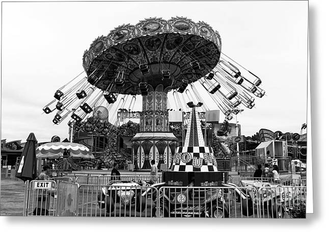 Seaside Heights Greeting Cards - Swing Ride mono Greeting Card by John Rizzuto
