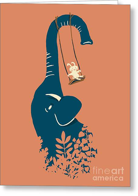 Hare Greeting Cards - Swing Swing Greeting Card by Budi Kwan