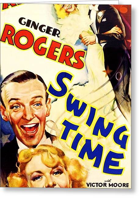 1936 Movies Greeting Cards - Swing  Time Greeting Card by Pg Reproductions