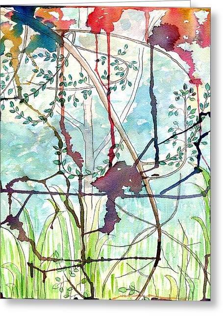 Child Swinging Paintings Greeting Cards - Swing uphill abstract Greeting Card by Mukta Gupta