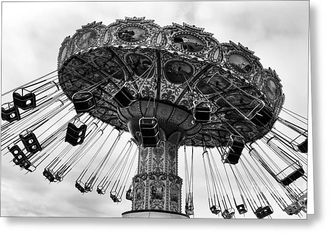 Seaside Height Greeting Cards - Swinging at Seaside Heights mono Greeting Card by John Rizzuto