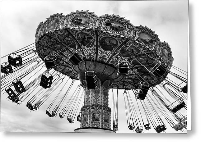 Seaside Heights Photographs Greeting Cards - Swinging at Seaside Heights mono Greeting Card by John Rizzuto