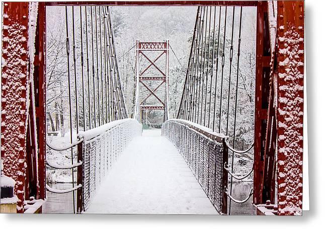 Winter Prints Greeting Cards - Swinging Bridge Greeting Card by Benjamin Williamson