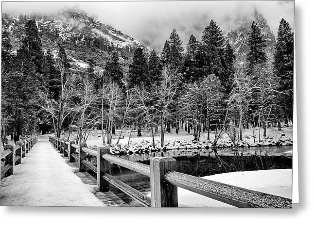 Swinging Bridge In Winter Greeting Card by Cat Connor