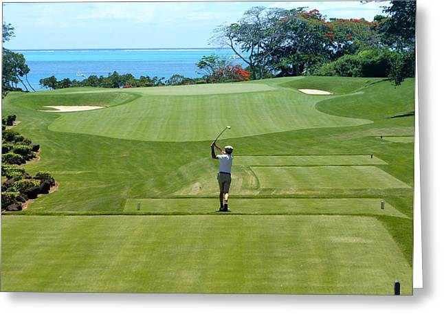 Tropical Golf Course Greeting Cards - Swinging for the Green Greeting Card by Mountain Dreams
