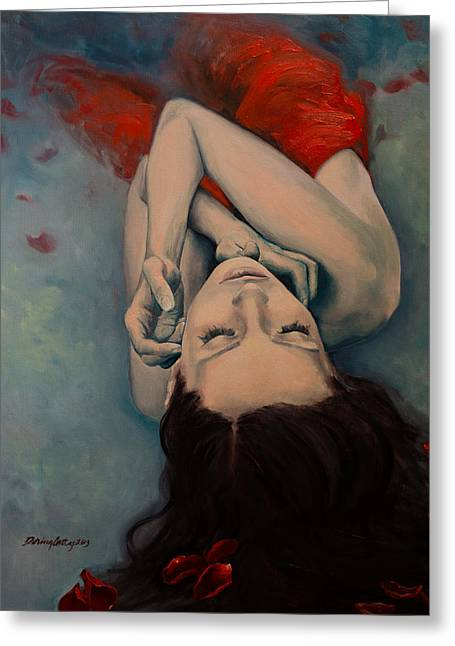 Swinging In Red Greeting Card by Dorina  Costras
