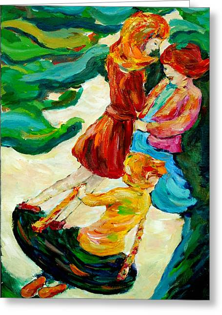 Child Swinging Paintings Greeting Cards - Swinging in the Park Greeting Card by Naomi Gerrard