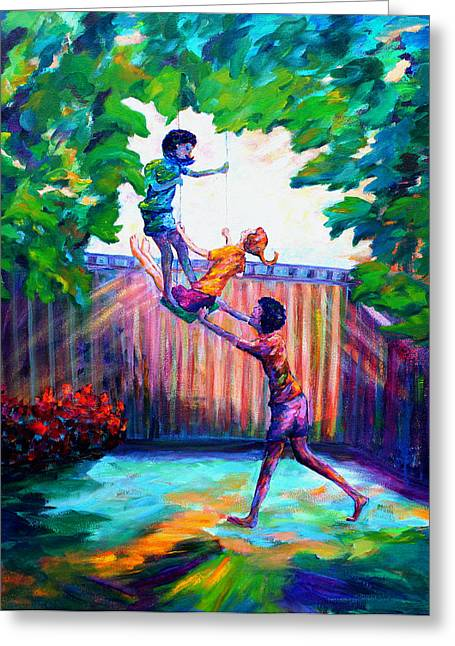 Child Swinging Paintings Greeting Cards - Swinging With Friends Greeting Card by Naomi Gerrard