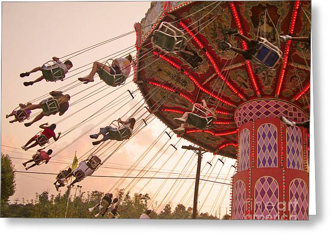 Neon Greeting Cards - Swings at Kennywood Park Greeting Card by Carrie Zahniser