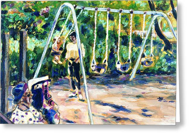 Swings Greeting Card by Faye Cummings