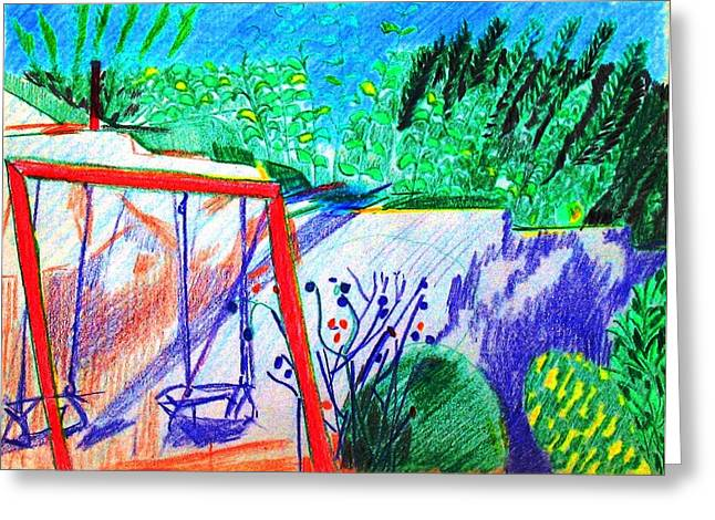 Swingset Greeting Cards - Swingset Greeting Card by Anita Dale Livaditis