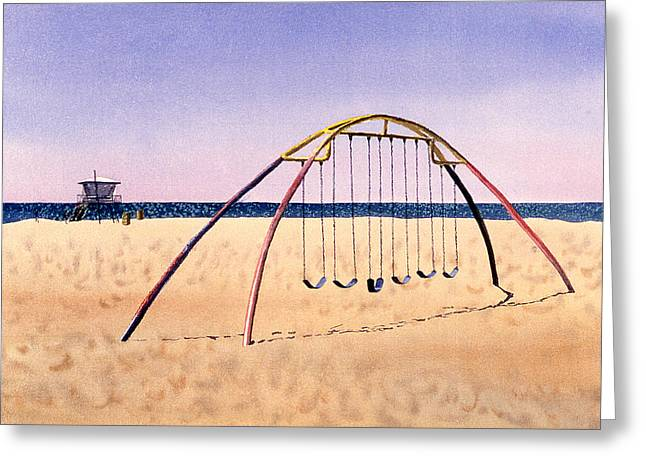 Swingset Greeting Cards - Swingset on Beach Greeting Card by Melinda Fawver
