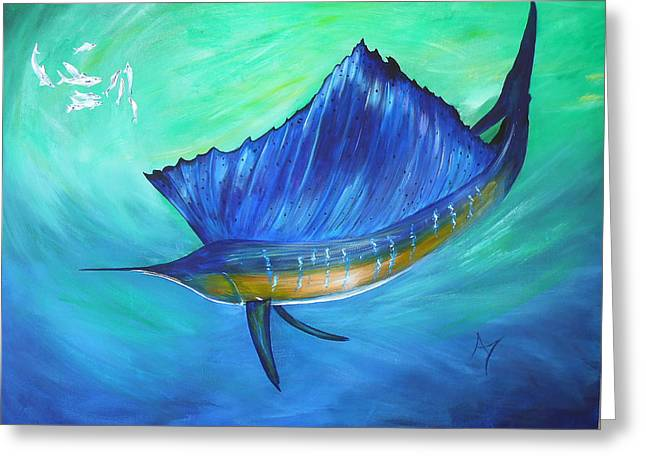 Swordfish Greeting Cards - Swirl Greeting Card by Annette Taunton