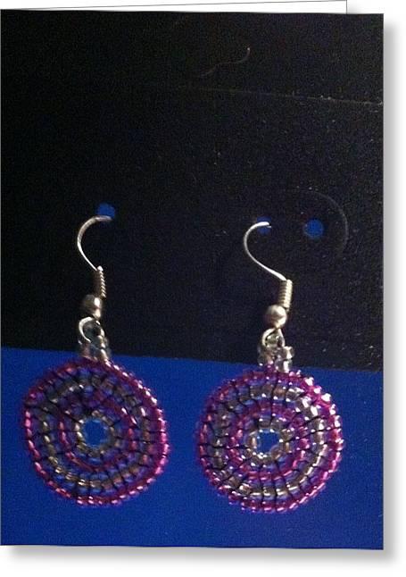 Seed Beads Greeting Cards - Swirl Earrings Greeting Card by Kimberly Johnson