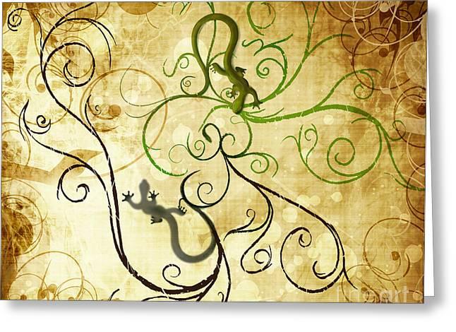 Gecko Illustration Greeting Cards - Swirl Geckos On Vintage Paper Greeting Card by Sassan Filsoof