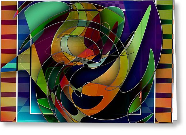 Abstract Digital Drawings Greeting Cards - Swirl Greeting Card by Iris Gelbart