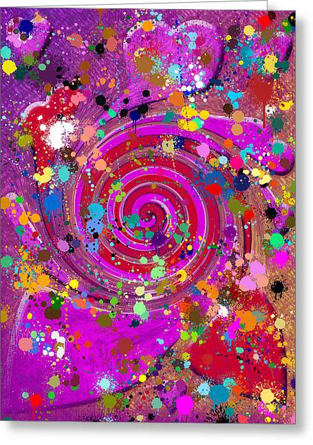 Abstract Silhouette Mixed Media Greeting Cards - Swirl of hearts  Greeting Card by Toppart Sweden