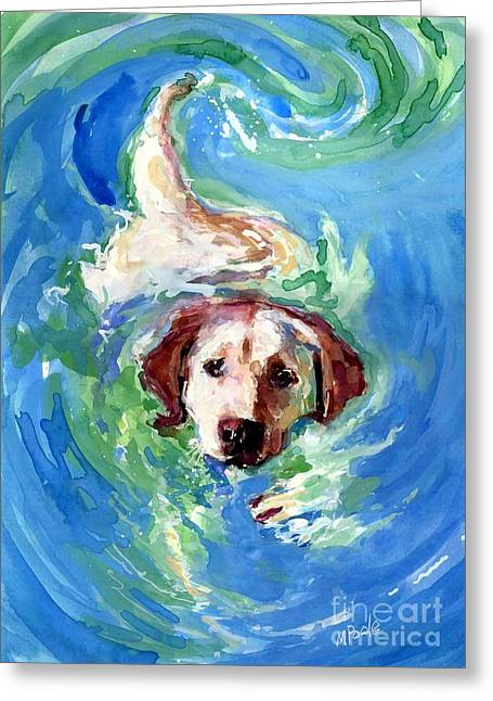 Yellow Dog Paintings Greeting Cards - Swirl Pool Greeting Card by Molly Poole