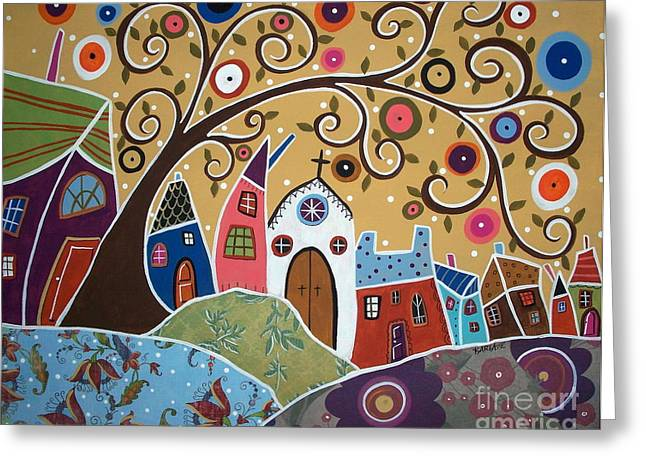 Swirl Tree Greeting Cards - Swirl Tree Town 1 Greeting Card by Karla Gerard