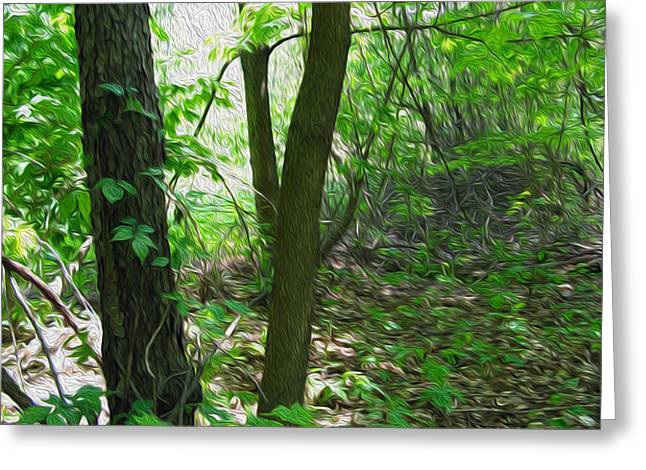 Swirled Forest 1 - Digital Painting Effect Greeting Card by Rhonda Barrett