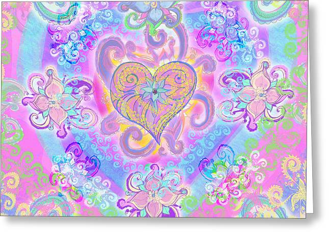 Vibrance Greeting Cards - Swirley Heart Greeting Card by Alixandra Mullins