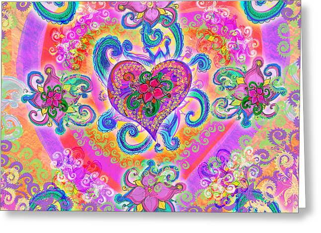 Vibrance Greeting Cards - Swirley Heart Variant 1 Greeting Card by Alixandra Mullins