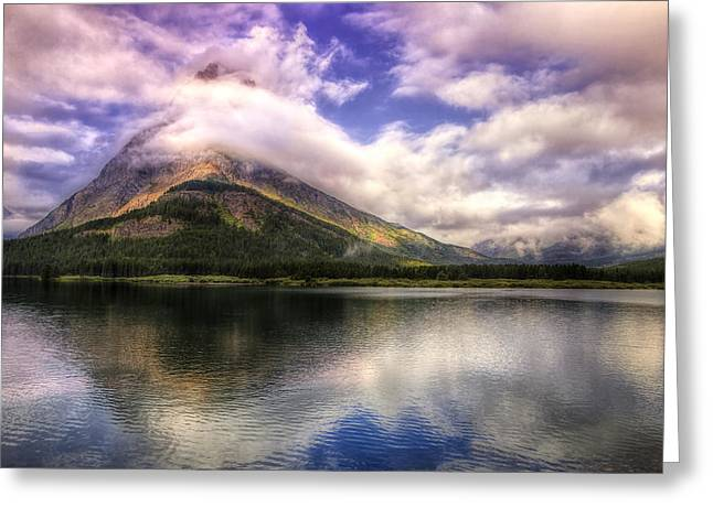 Many Glacier Greeting Cards - Swirling Clouds Greeting Card by Andrew Soundarajan