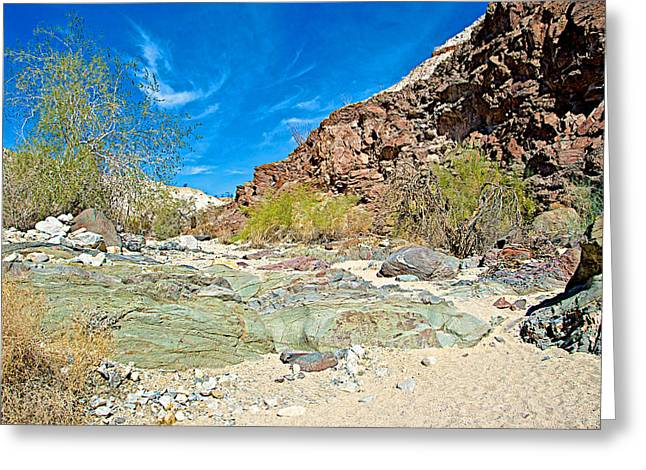 Clouds Over Canyon Greeting Cards - Swirling Clouds over Big Painted Canyon Trail in Mecca Hills-CA Greeting Card by Ruth Hager