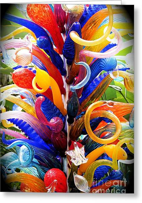 Contemporary Glass Art Greeting Cards - Spirals Greeting Card by The Art of Alice Terrill