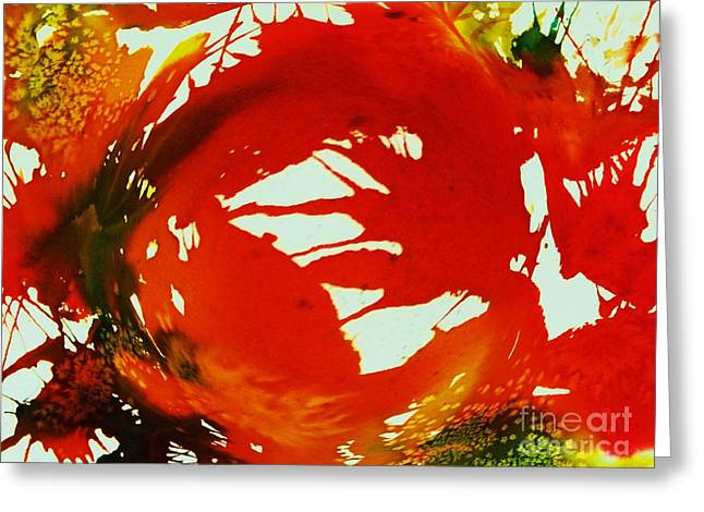 Lacy Contemporary Greeting Cards - Swirling Crimson Abstract Greeting Card by Ellen Levinson