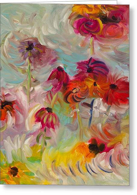 Abstracted Coneflowers Paintings Greeting Cards - Swirling flowers Greeting Card by Jim Tucker