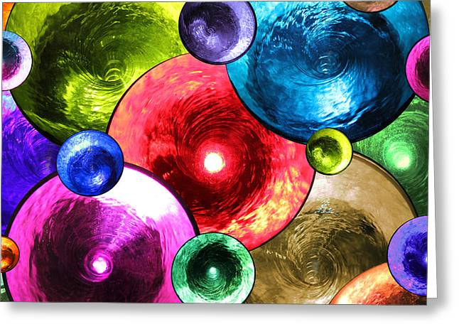 Blue Green Water Greeting Cards - Swirling Fountains Greeting Card by Mariola Bitner