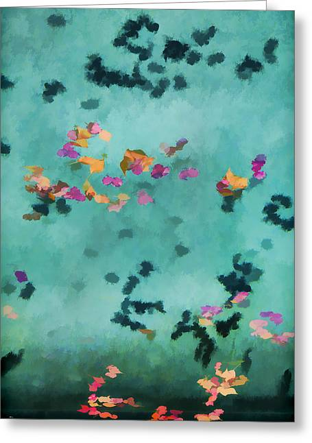 Painterly Greeting Cards - Swirling Leaves and Petals 5 Greeting Card by Scott Campbell