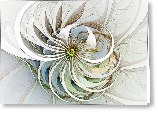 Floral Digital Art Greeting Cards - Swirling petals Greeting Card by Amanda Moore