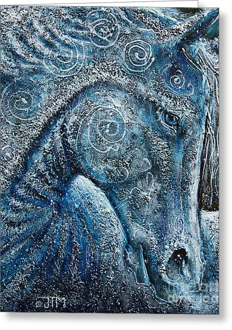 Paso Fino Horse Greeting Cards - Swirling Spiraling Snow Greeting Card by Jonelle T McCoy