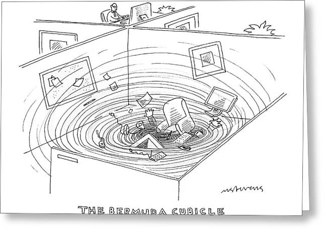 Swirling Vortex Of Office Supplies Disappearing Greeting Card by Mick Stevens
